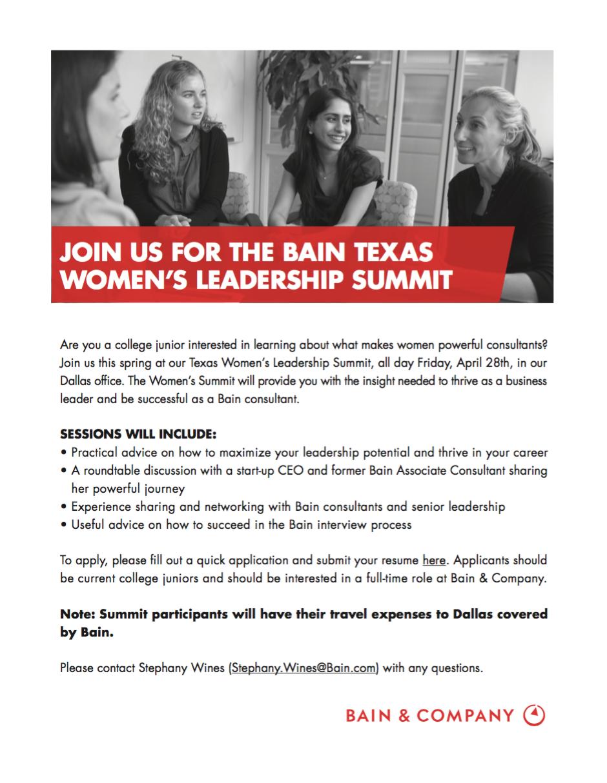 Bain Texas Women's Leadership Summit (apply 4/2) — Stanford Women In