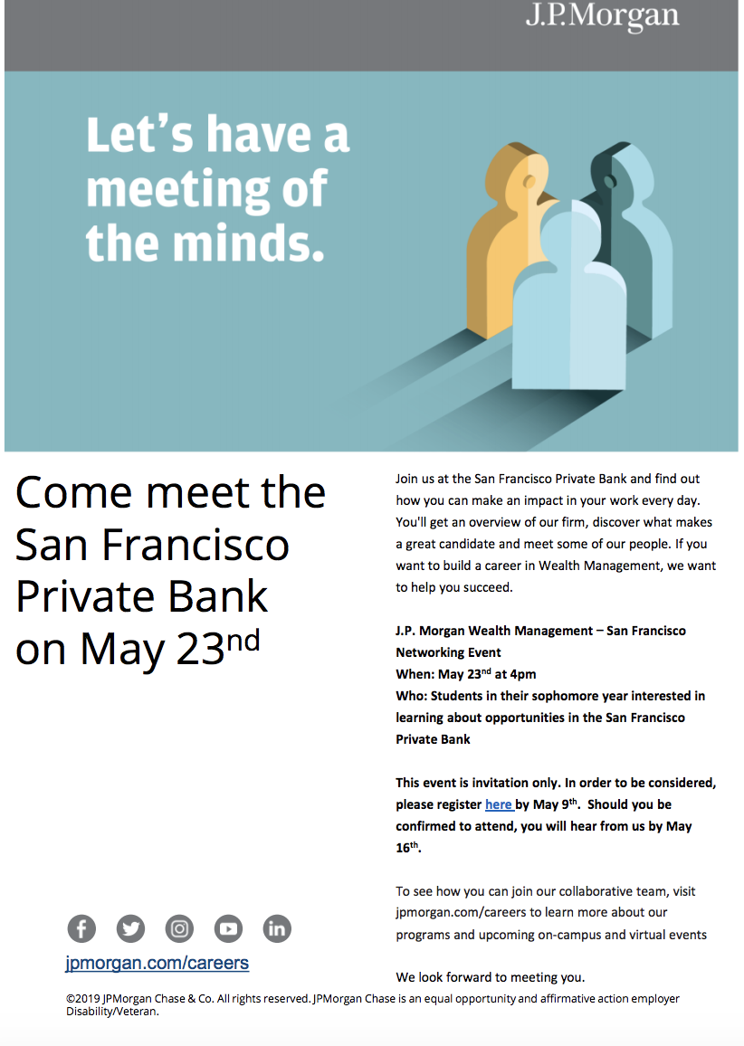 J P  Morgan Private Bank - San Francisco Networking Event — Stanford