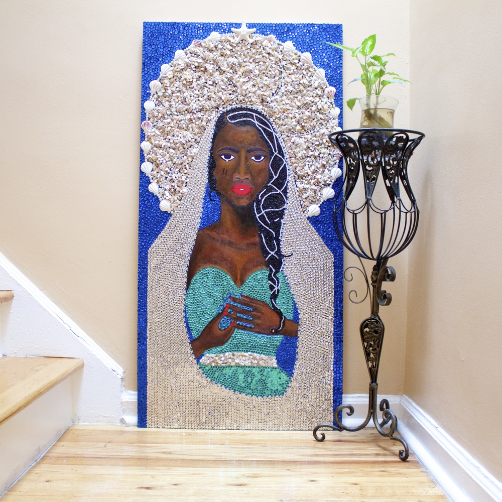 Sibyl #4 / La Sirene   acrylic, sequins, rhinestones, pearls, seashells and starfish on wood  48 x 24 x 1 inches  2016