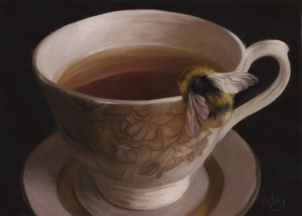 "Served Sweet,  5"" x 7"", oil and digital on board, 2016."