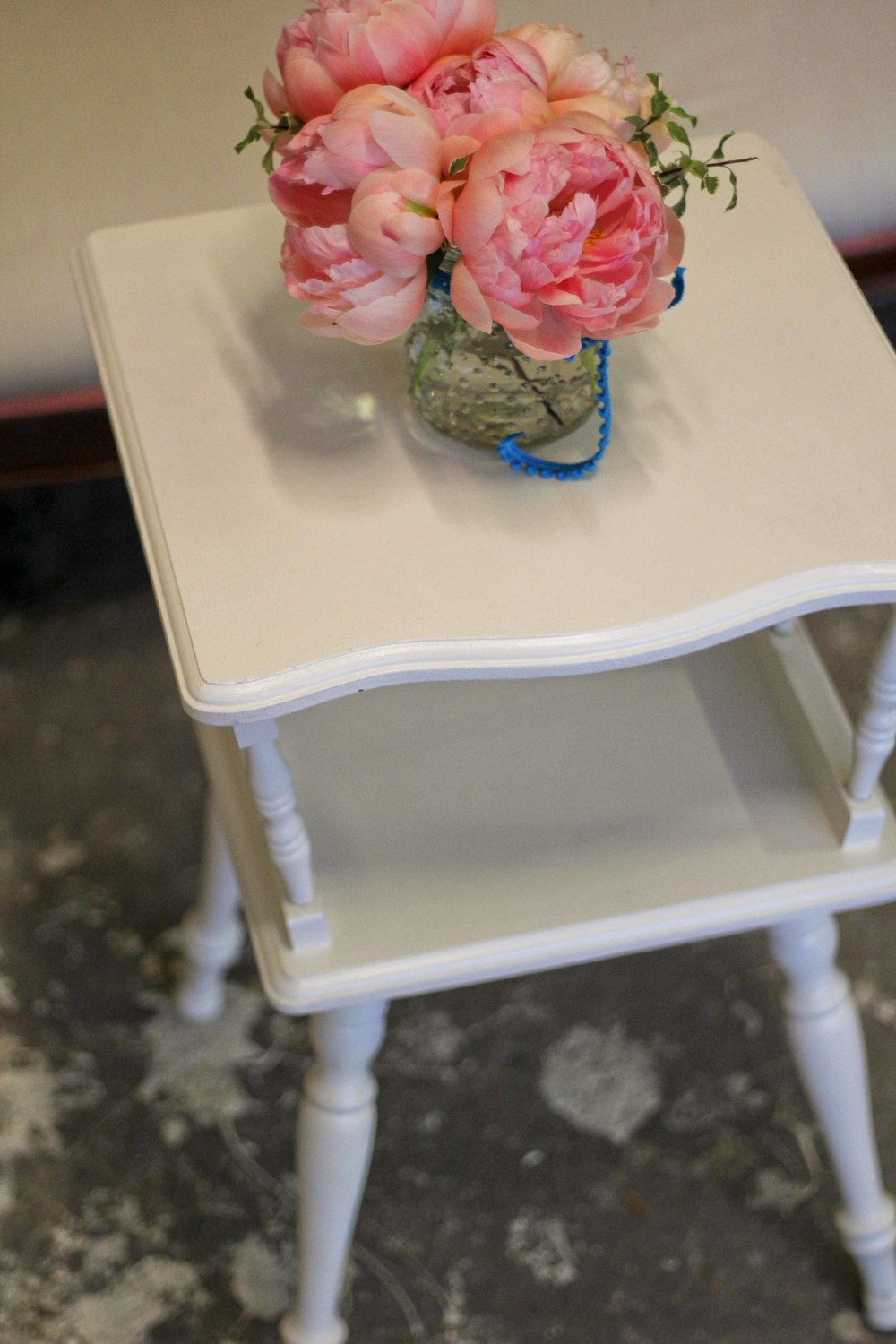 Cream square side table $25 rental