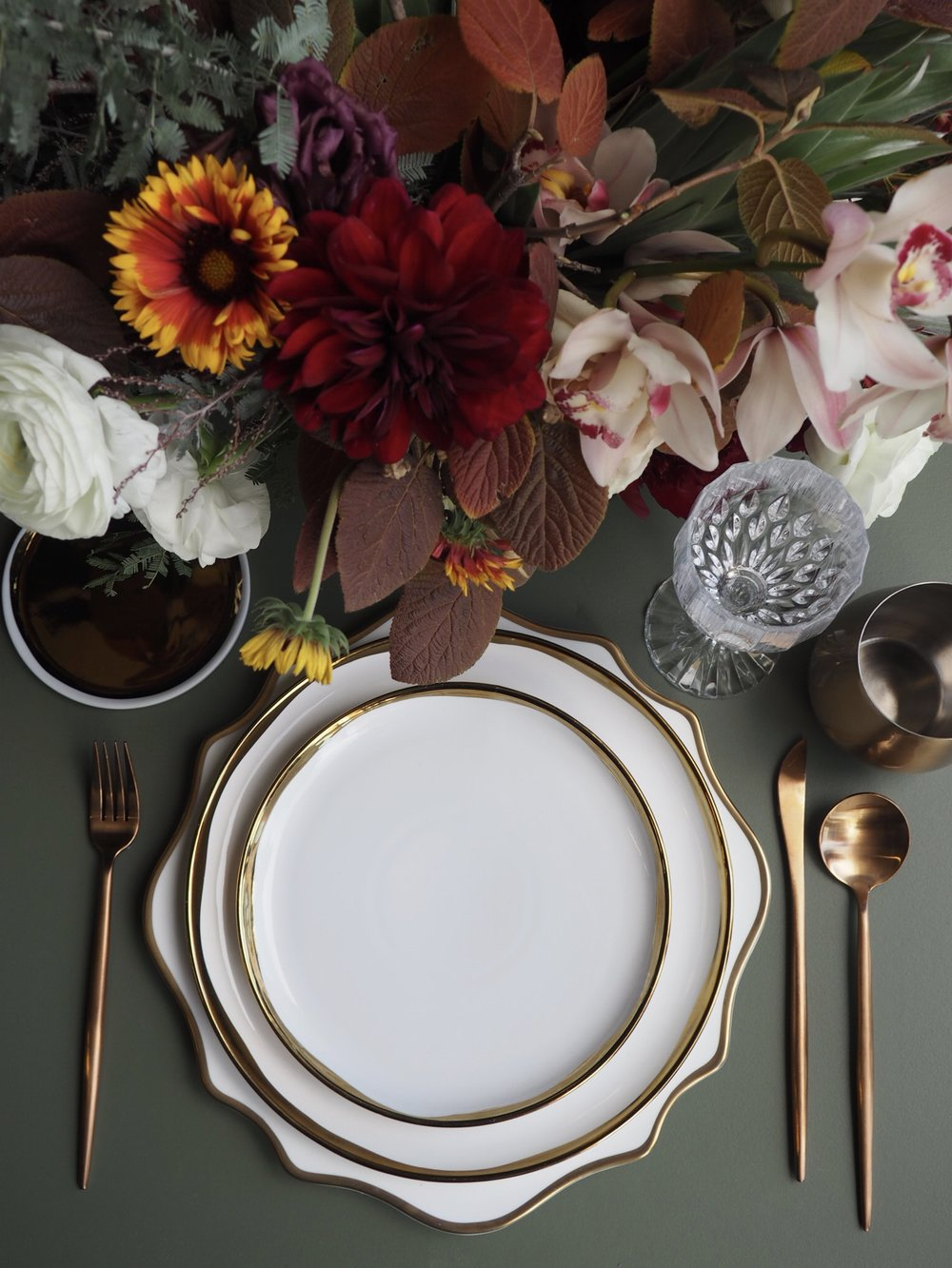 Featuring: Eclectic Crystal Goblet, Gold Stemless, Rose Gold Flatware, Aura Scalloped Gold & White Charger, Aura Gold & White Dinner Plate, Aura Gold & White Salad Plate & Gold & White B+B.