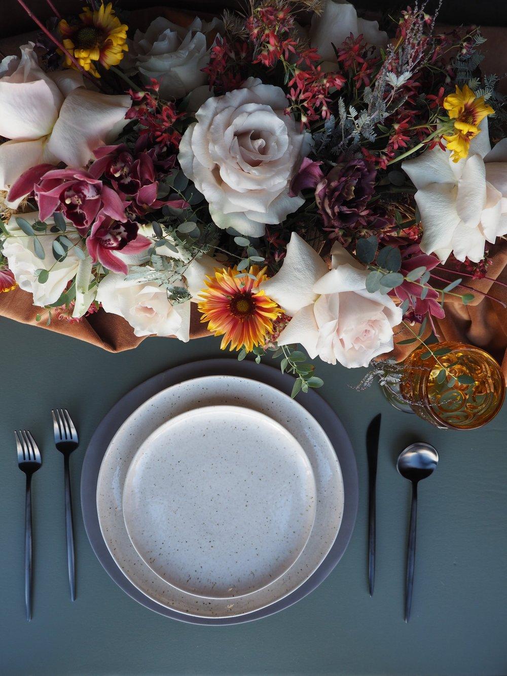 Eclectic Amber Goblet, Black Flatware, Slate Grey Charger, Speckled Dinner, Speckled Salad