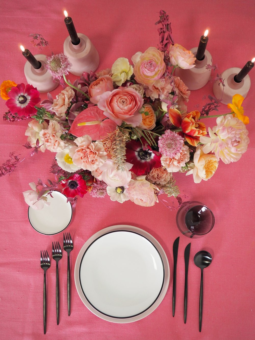 Terra Cotta Tapers, Smoke Grey Stemless, Black Flatware, Blush Dinner Plate, Aura Black & Gold Salad and B&B plates