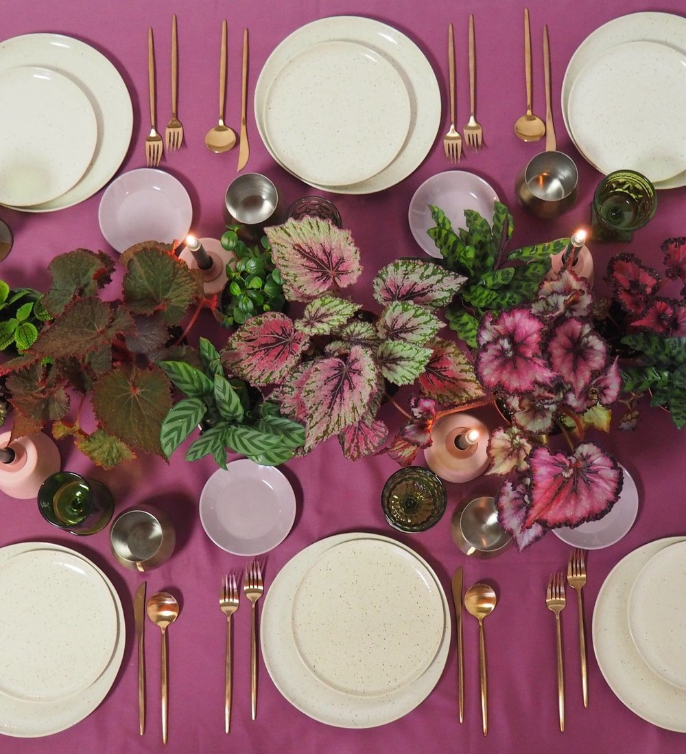 Terra Cotta Taper Holders, Eclectic Emerald Goblets, Gold Stemless, Gold Flatware, Speckled Dinner and Salad Plates, Mauve B&B