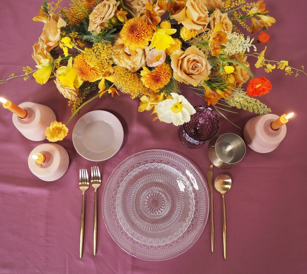 Terra Cotta Taper Holders, Eclectic Amethyst Goblet, Gold Stemless, Gold Flatware, Gemma Dinner and Salad Plates, Mauve B&B