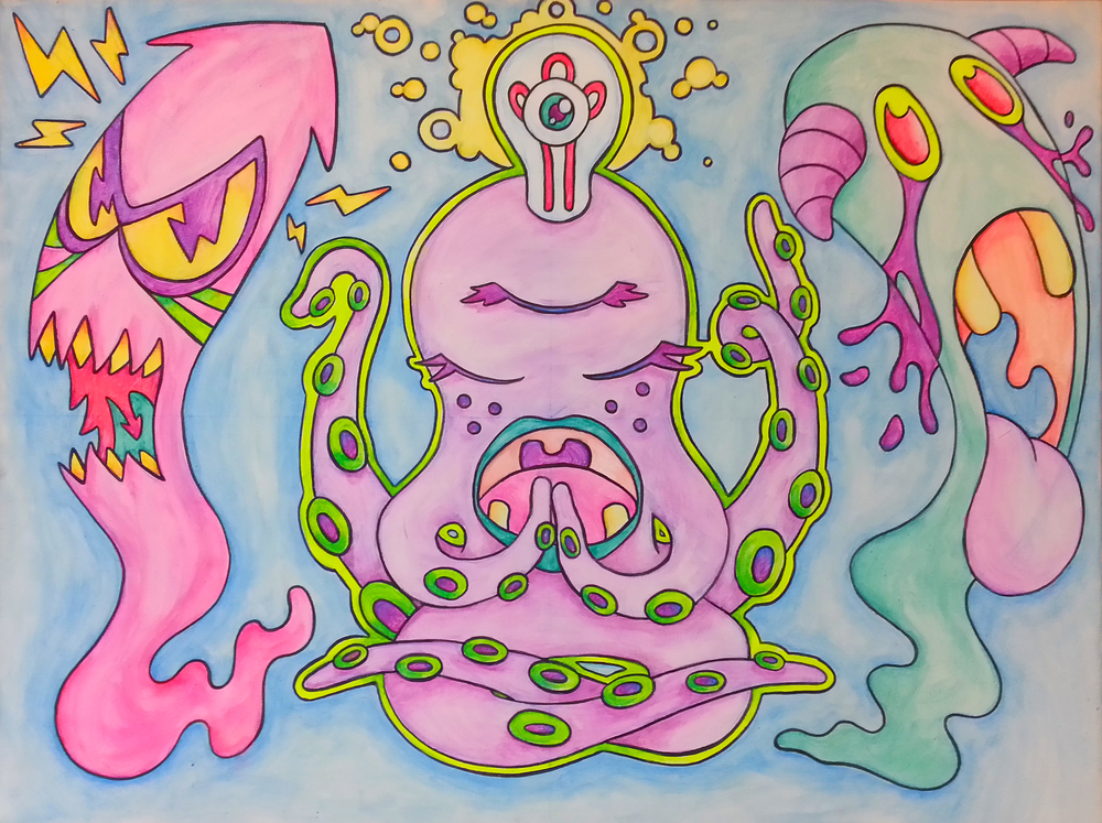 """ Meditating Monsters"" - 24"" x 36"" ink & acrylic on canvas"