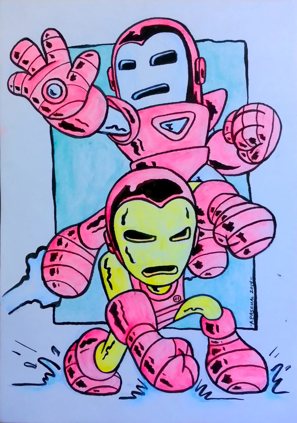 """Iron Besties"" -  5"" x 7"" acrylic & ink on matteboard"
