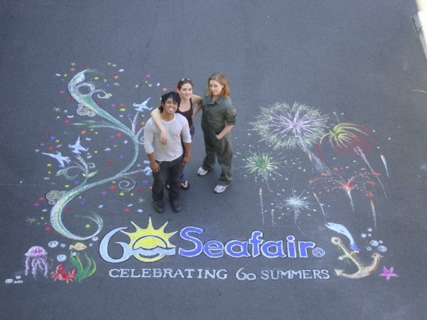 Komo News parking lot - Seafair Mural