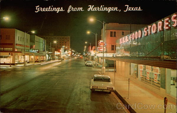 Downtown Harlingen in 1975. Photograph: Frank Whaley Postcards.