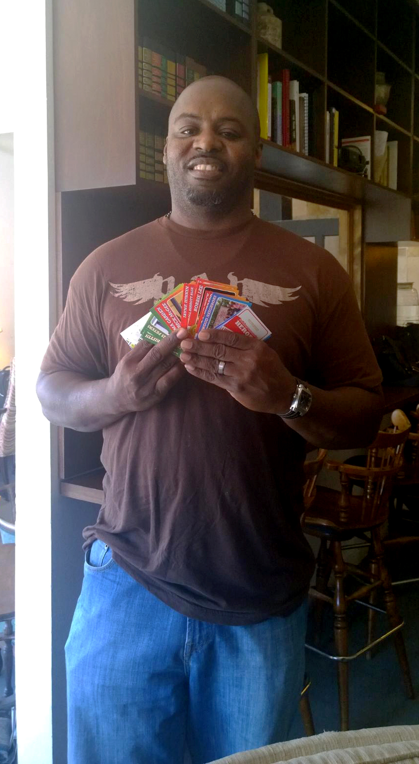 Patrick McGee with his set of cards.