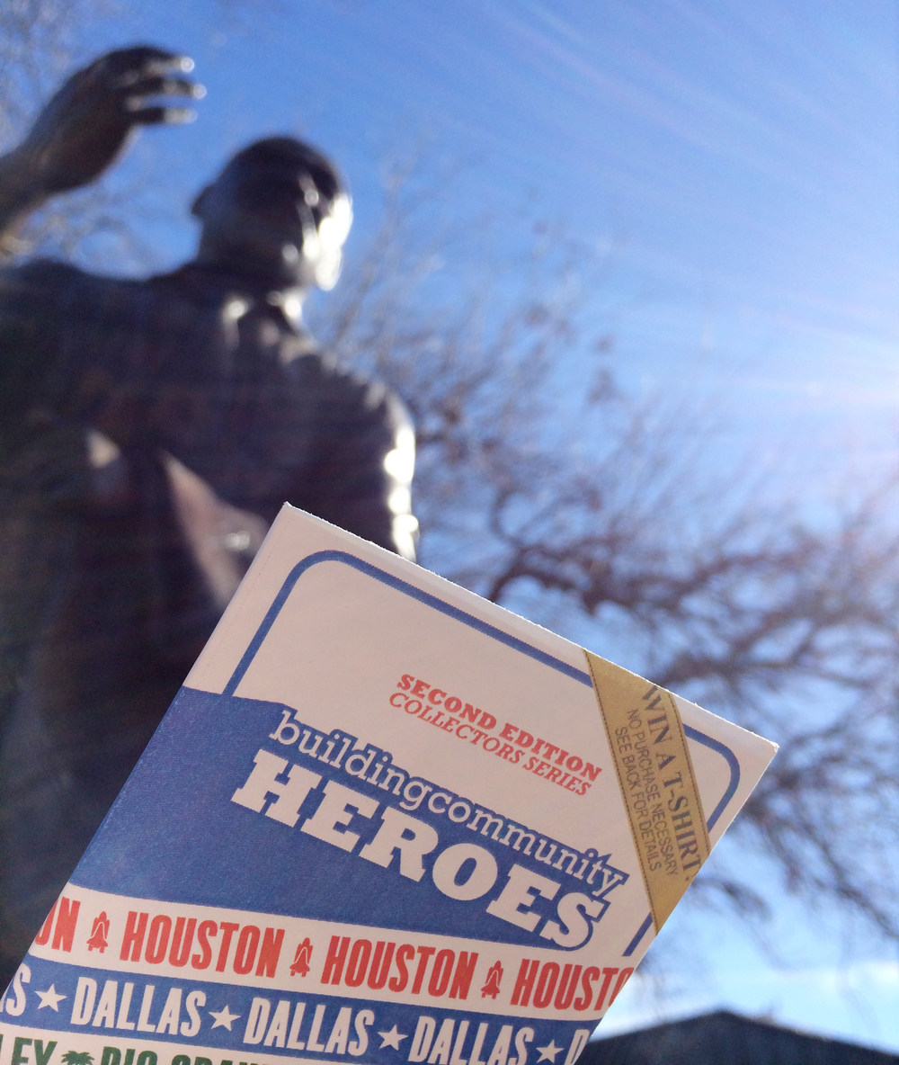 The cards with the statue of Martin Luther King, Jr. in Dallas.