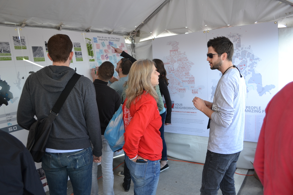 The POP Neighborhood Map at the opening of the Margaret Hunt Hill Bridge, 2012
