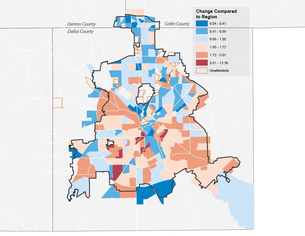 Change in Median Days On Market by Census Tract, Dallas, 2010 - 2015 (NTREIS)