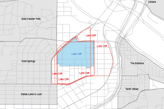 Boundaries for Lake Cliff as drawn on the POP Neighborhood Map and as submitted online