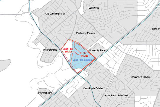 Boundaries for Lake Park Estates as drawn on the POP Neighborhood Map and as submitted online