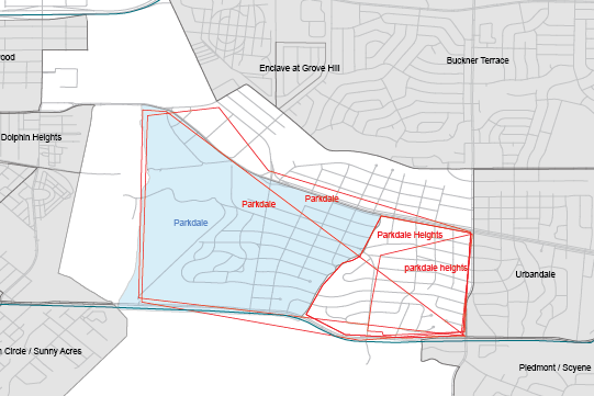Boundaries for Parkdale as drawn on the POP Neighborhood Map and as submitted online