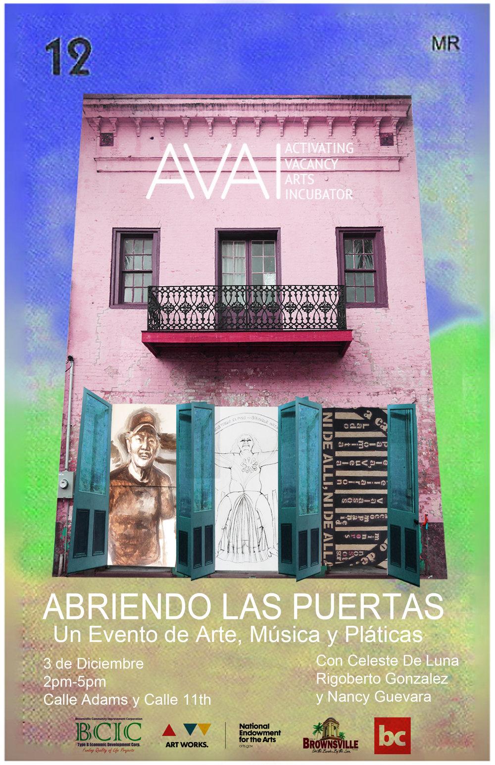 Flyer for AVAI event Abriendo Las Puertas
