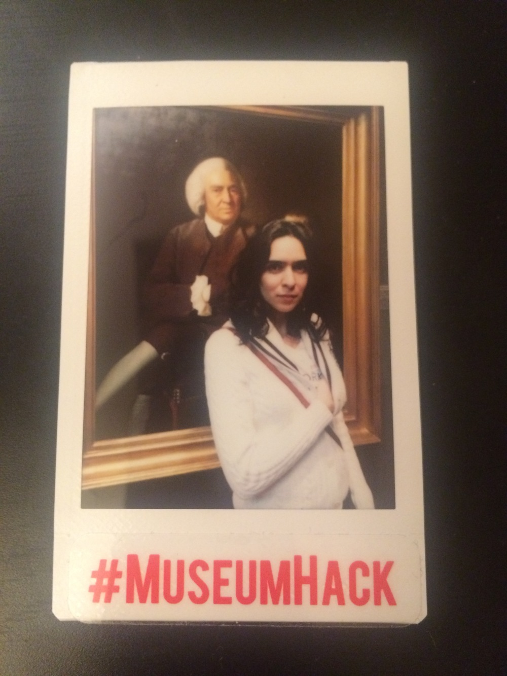 A polaroid taken by my tour guide. This is the portrait I chose for the murderer. Can you see the concealed weapon?!