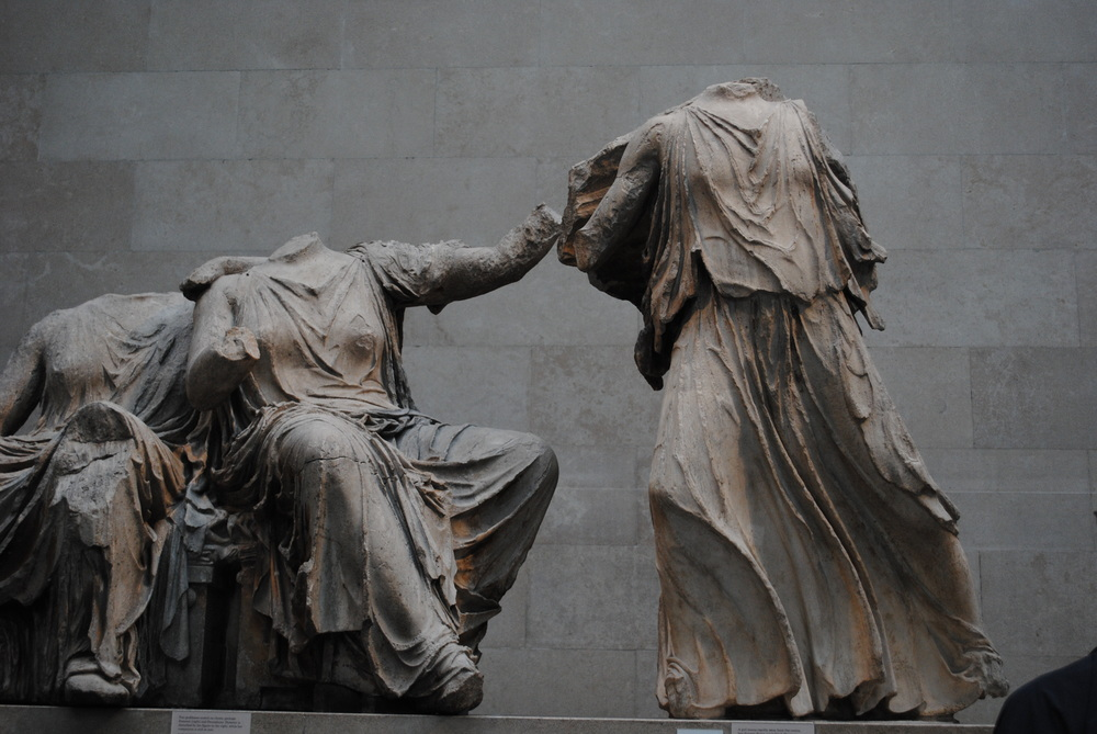Detail from one side of the figures that used to decorate the pediment of the Parthenon. They're huge, and even perfectly carved on the back as well.