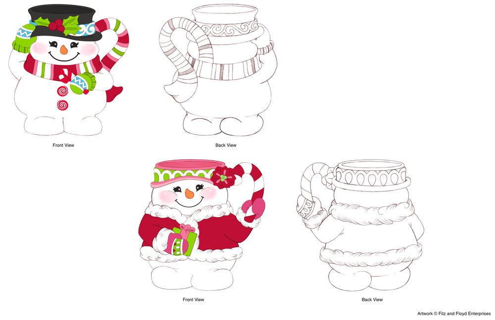 Flurry Folk Figural Snowman Mugs