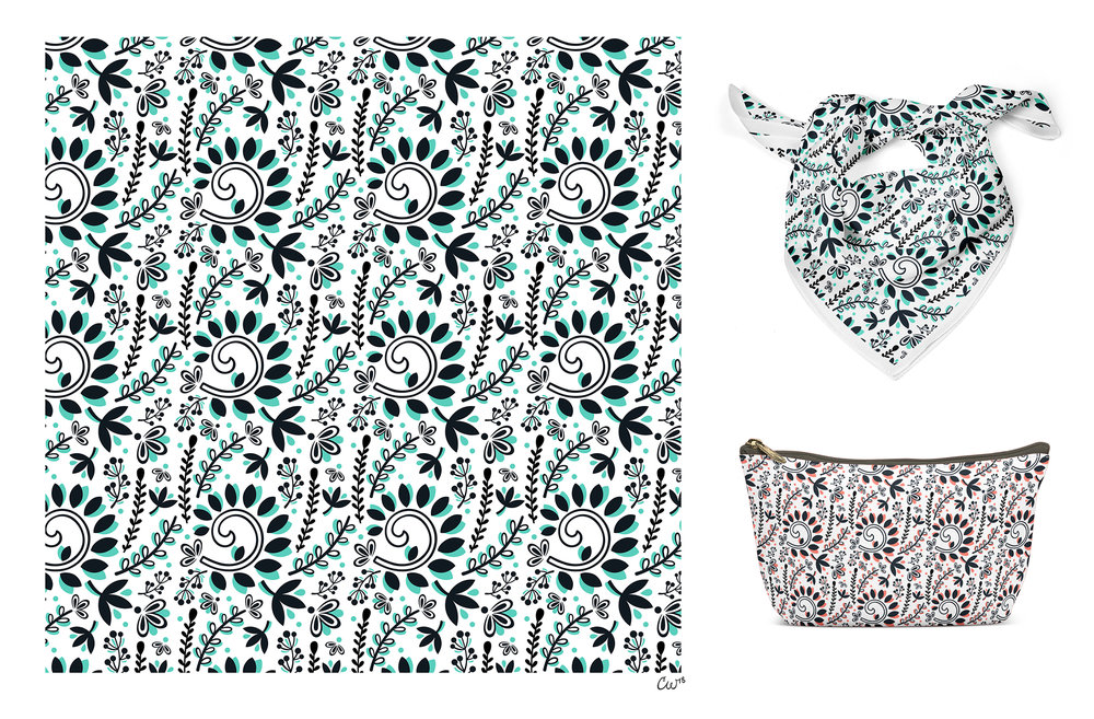 Vine & Leaf Motif Pattern