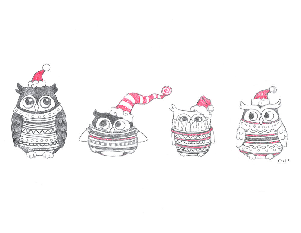 Owls with Sweaters