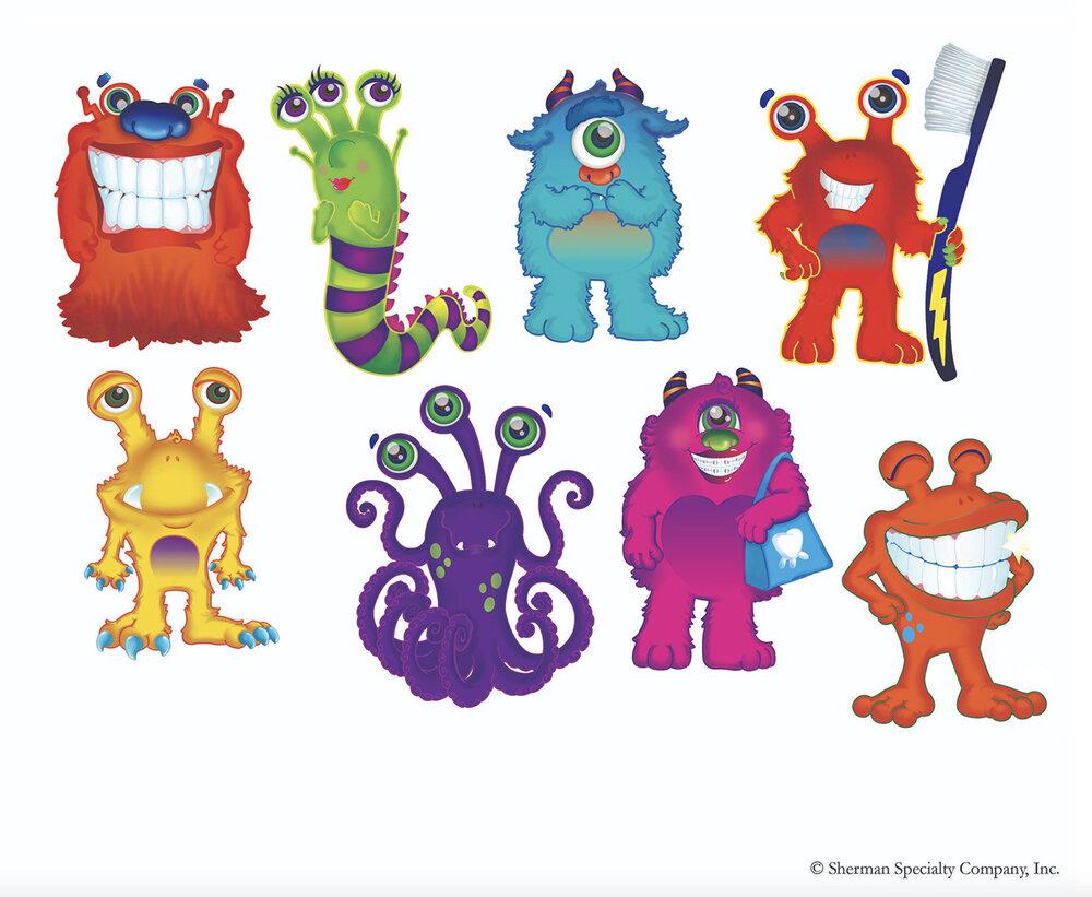 Monster Character Concepts for Sherman Dental