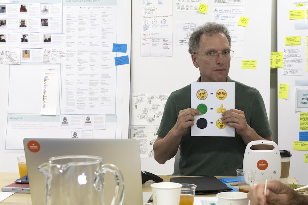 Slowly but surely, I'm shaping the design culture at KP.Even our project sponsor Tim agreed to facilitate an emoji-fueled dot voting session.