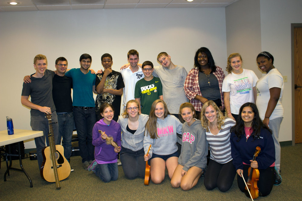 Writing, performing, and recording songs about the loss of a loved one during a Bereavement Center's Teen Retreat weekend.