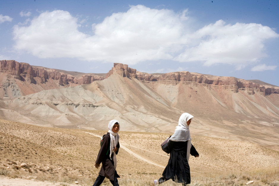 Hazara girls on their walk home from school, Bamyan Province.jpg