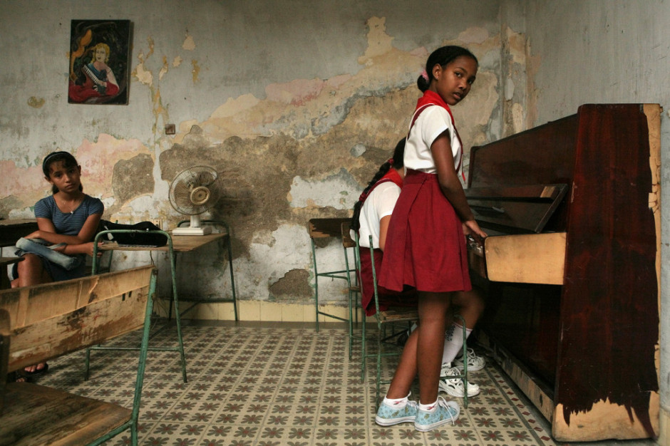 Students rehearse at their music school, Santiago Cuba