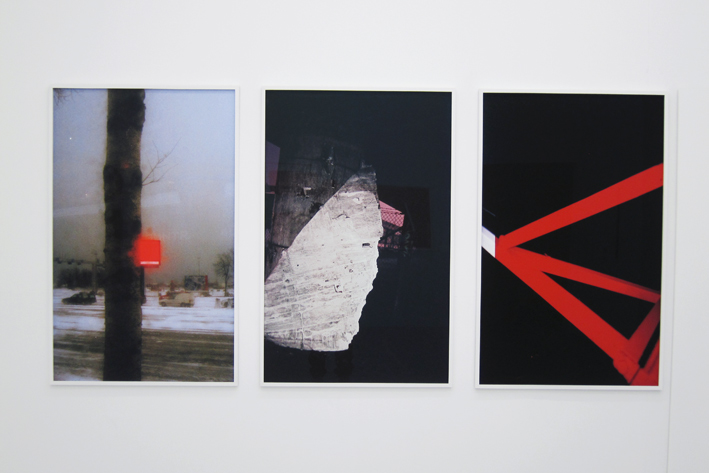 Red, 2011, 126 x 82 cm, Column, 2011, 126 x 82 cm and Lines, 2013, 126 x 82 cm. All inkjet print in custom frames. Editions of 2 + 1 ap.