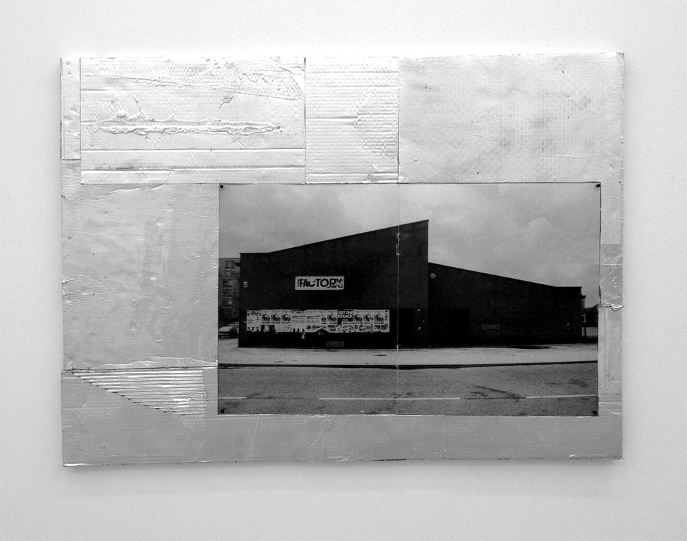 FCTRY, 2012, 94,5 x 128,5 cm. Photo, spray paint and card board on board.