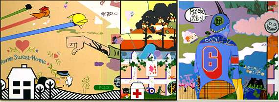 Tomorrow Comes Today, 2002, 122 x 335 cm. Acrylic on linen.