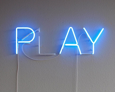 Play, 2009. Neon and transformer.