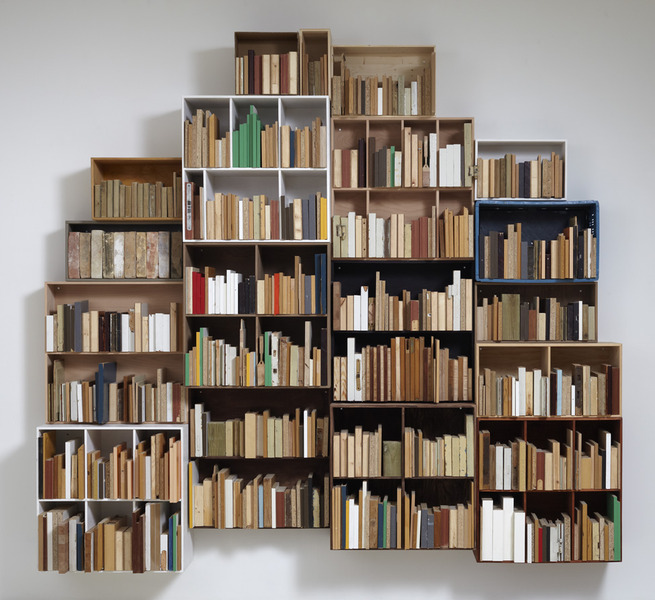 Untitled (for Raymond Carver), 2010, app. 270 x 280 x 50 cm. Bookcases and found wood.