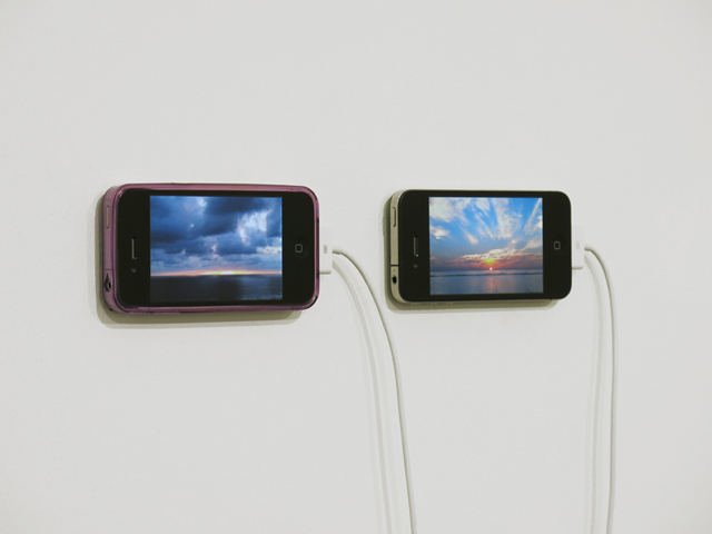 David Horvitz 'The Distance of a Day', 2013 Two videos, 12 minutes each. Installation view, Chert, Statements, Art Basel, 2013