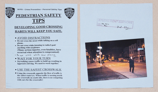 David Horvitz, 'Studio Rent Edition (February 2012) star gazing in Bedstuy'  2012. Police personal safety tips photocopy, one photograph