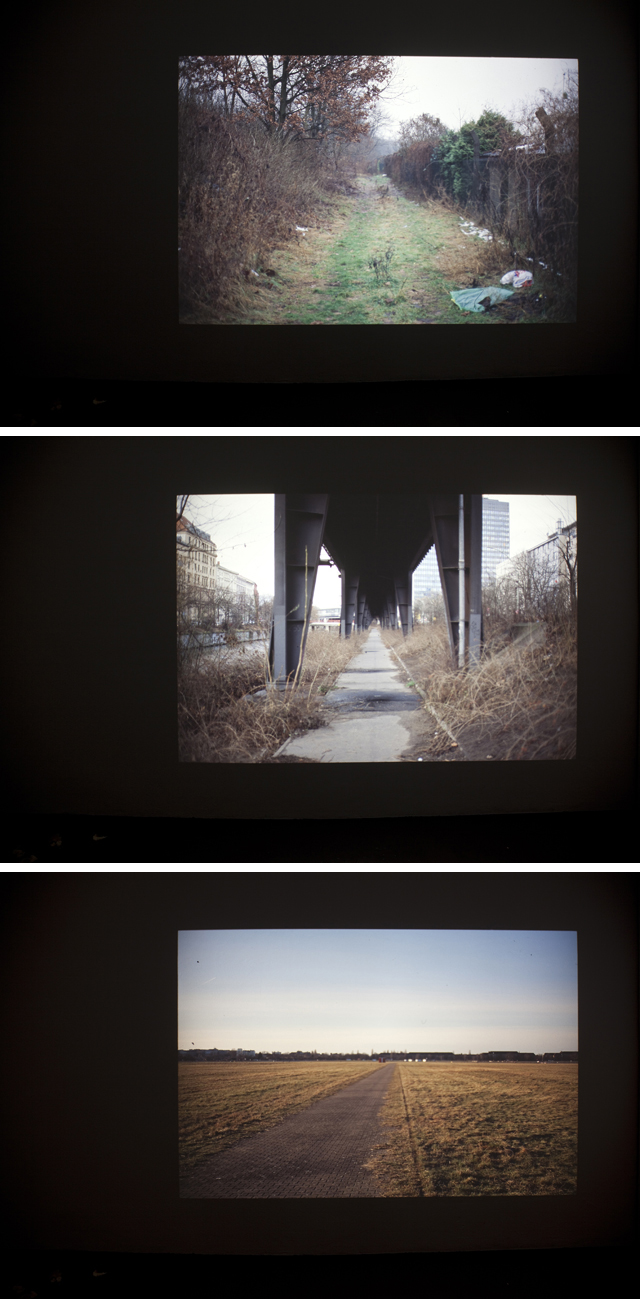 David Horvitz, 'Twelve walks across a horizon in Berlin (slide show 2)'  2013. Slide projection in loop, 43 slides. Text printed on A4 paper, free take-away. Variable size.