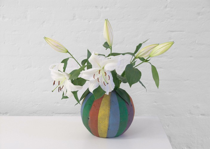 Customizing mass-produced Objects (The Vase Series, rainbow), 2011 Found basketball, water, flowers