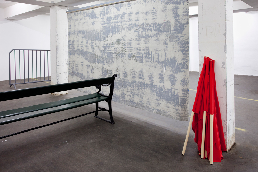 Lanx Satura, Flags,    2011   Fabric and wood   Variable dimensions