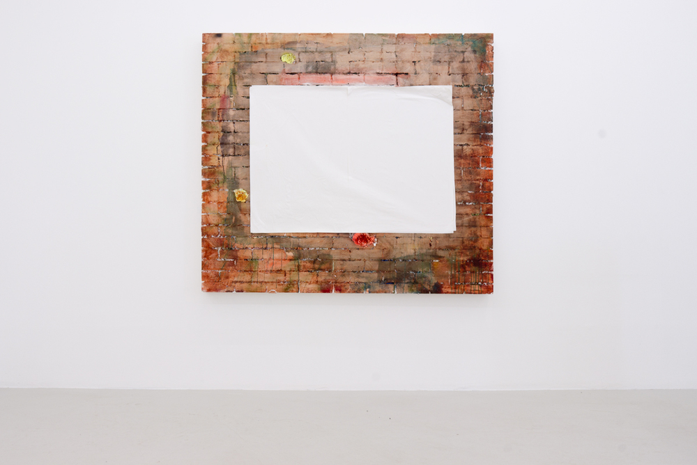 Poster (Motif), 2014, paper and board on acrylics on styrofoam on wooden stretcher, 160 x 189,5 cm
