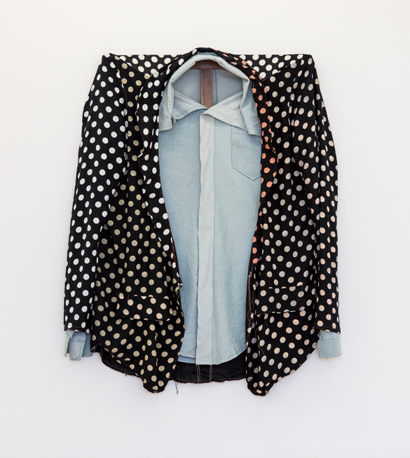 Polka Dot Blazer over Denim Shirt, 2015, 117 x 101,5 Mixed textiles on walnut stretcher