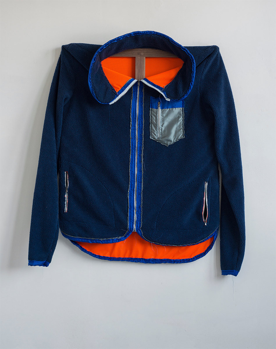 Blue Patagonia, 2015 142,2 x 147,3 x 15 cm Fleece on Walnut Frame