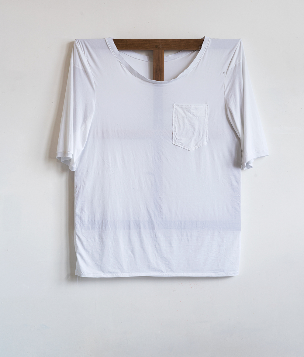 Plain White Tee, 2015 142,2 x 121,9 cm Cotton on Walnut Frame