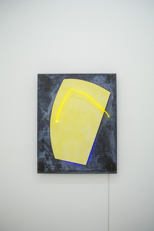 Plumbum Jaune 1988 126 x 100 x 13 cm Neon light, lead, and wood