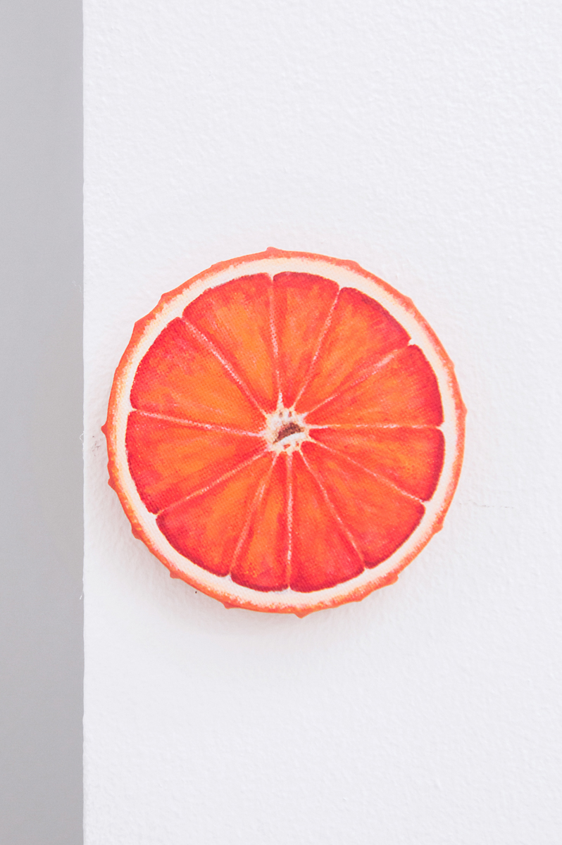 Adam Cruces    Blood Orange,   2016 10 cm, diameter Acrylic on canvas