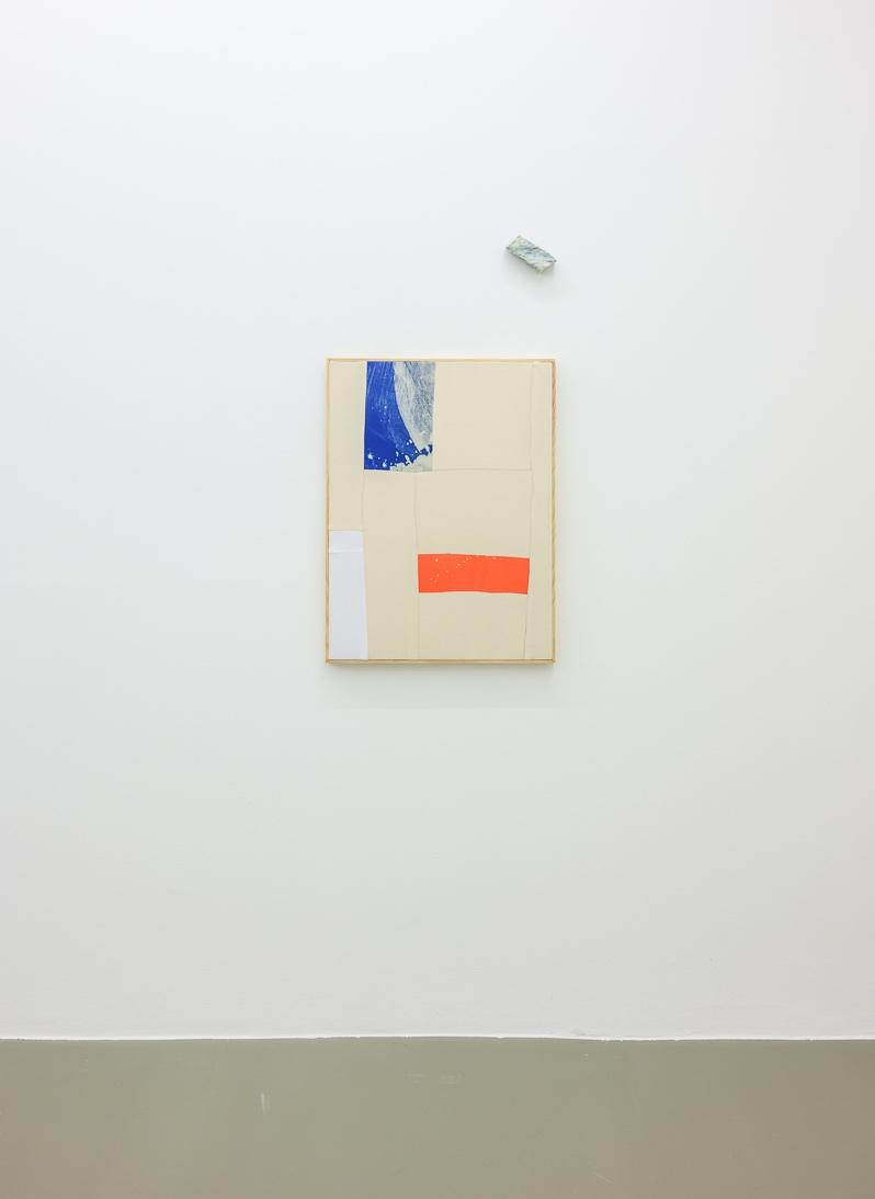 Alentejo Soup,  2018 80 x 61 cm Bleach on sewn cotton with artist's frame