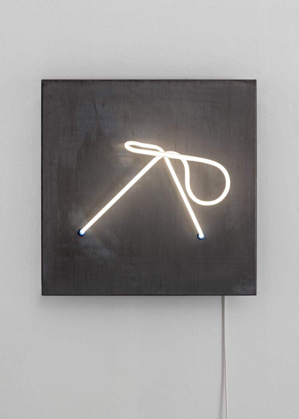 KHIAM, 2019 45 x 45 x 15 cm Lead, neon